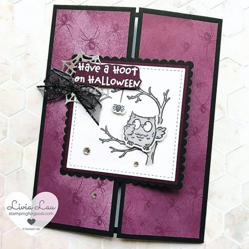 Have A Hoot Halloween Spider Gatefold Card