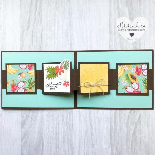Timeless Tropical Fancy Fold Card Inside